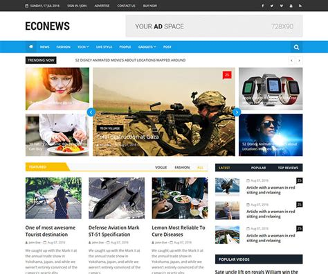 Responsive Bootstrap Newspaper Template
