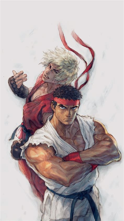 Aj10 Anime Street Fighters Ryu Ken Art Illust Wallpaper
