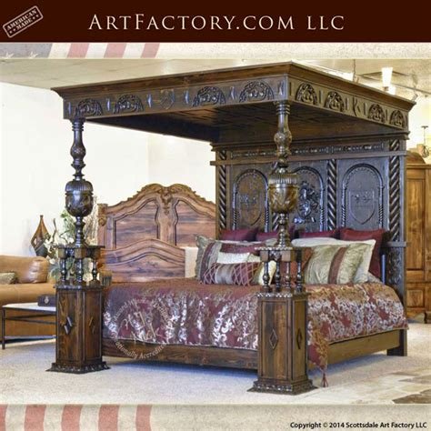 hand carved medieval canopy bed inspired  irelands