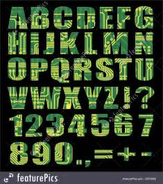 Electronic Alphabet With Letters Digits From Circuit