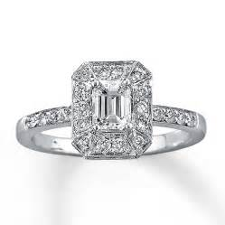 emerald shape engagement rings engagement ring 1 ct tw emerald cut 14k white gold