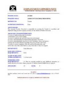 resume sle for preschool assistant preschool assistant resume exles search becoming a
