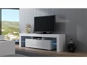 Meuble Tv 160 Cm : meuble tv spider led en blanc mat avec porte blanc laqu 160 cm vente de meuble tv conforama ~ Teatrodelosmanantiales.com Idées de Décoration