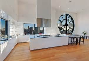 open kitchen plans with island clock tower triplex apartment in new york