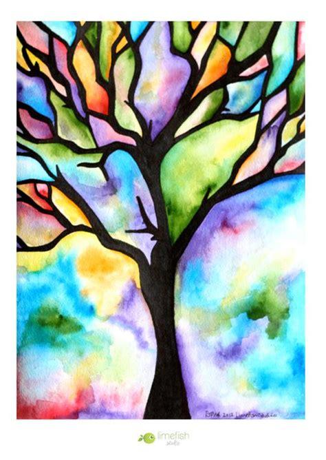 original watercolor painting tree silhouette  limefishshop