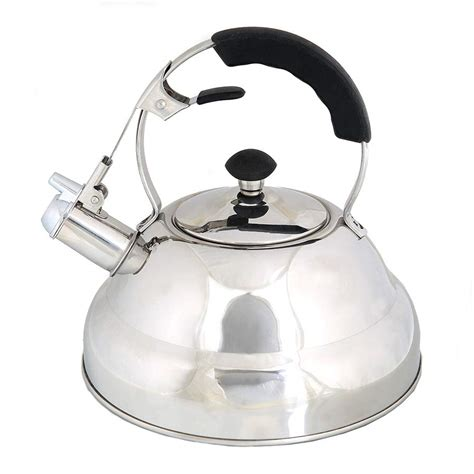 stove kettle tea whistling aid pot kettles gas stainless teapot handle foodie steel capsule bottom finish layered mirror silicone silver