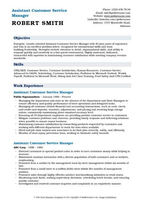 Sle Resume Of Customer Service Manager by Assistant Customer Service Manager Resume Sles Qwikresume