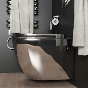 Cuvette Pour Wc Suspendu : cuvette suspendue en ceramique couleur argent chrome pour geberit ~ Melissatoandfro.com Idées de Décoration