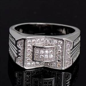 high quality silver engagement men ring classic cz diamond With high quality cz wedding rings