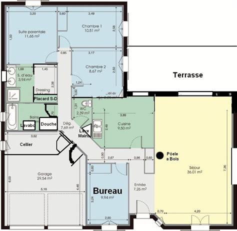 plan de maison 4 chambres plain pied gratuit plan maison plain pied 120m2 4 chambres excellent plan