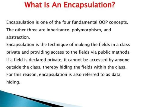 It is one of the popular feature of object oriented programming(oops) that helps in data hiding. What is Encapsulation in #OOP #ObjectOrientedProgramming # ...