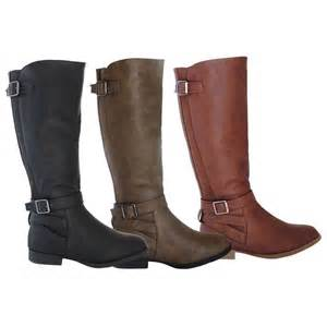 womens boots knee high leather womens boots knee high fashion flat stylish faux leather shoes size ebay