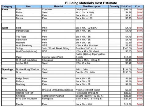 building estimate format  excel building