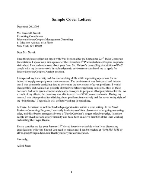 Hr Consultant Cover Letter Sle by Cover Letter For Consulting Analyst Sle Cover Letter