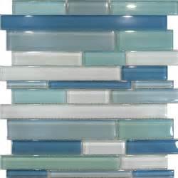 1sf blue random linear glass mosaic tile backsplash