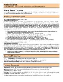 desktop support engineer resume sle technical support