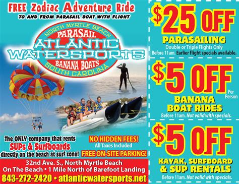 Boat Us Coupon by Parasail Coupons Myrtle Sc