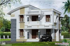 Simple flat roof home design feet kerala architecture for Home design photo