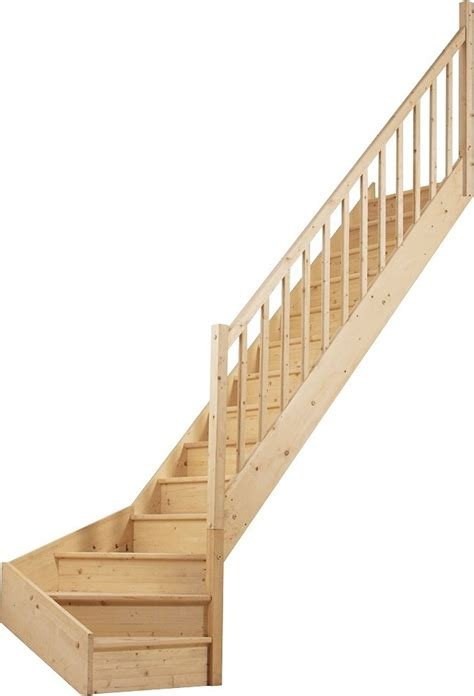 escalier 1 4 tournant bas droit en sapin