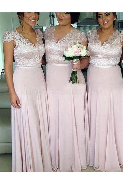 Cap Sleeves V-Neck Lace Chiffon Long Plus Size Wedding ...