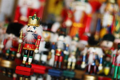 christmas nutcracker king  front  toy soldiers stock