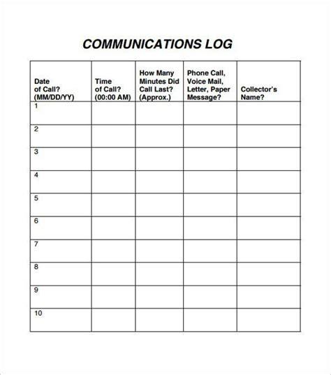 communication log templates communication log