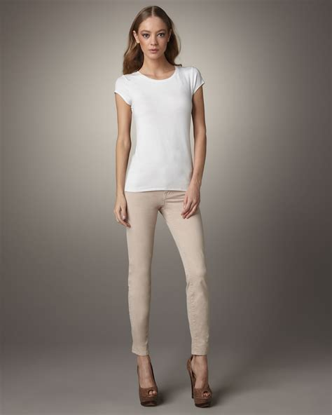 Lyst J Brand Midrise Skinny Twill Jeans Nude In Natural