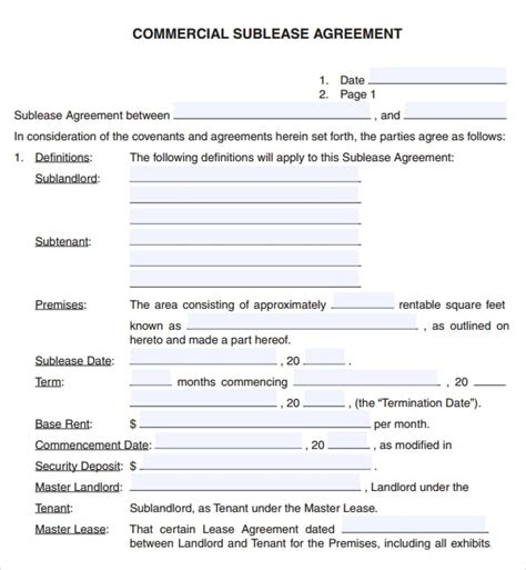commercial lease agreement template word 6 free commercial lease agreement templates excel pdf formats