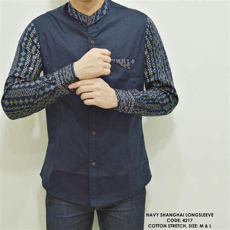 jual baju kemeja koko kerah shanghai motif batik biru panjang di lapak vanshirtstore