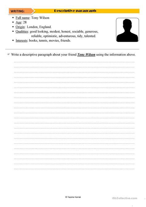 descriptive paragraph worksheet free esl printable