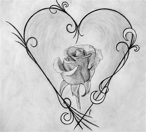 Drawn design really cool heart - Pencil and in color drawn ...
