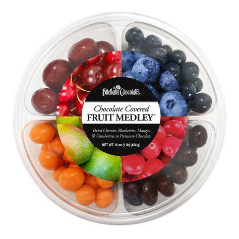 Chocolate Fruit Medley Wheel   16 oz   Dilettante Chocolates