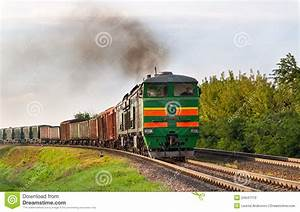 Freight Train Hauled By Diesel Locomotive Stock Photo ...