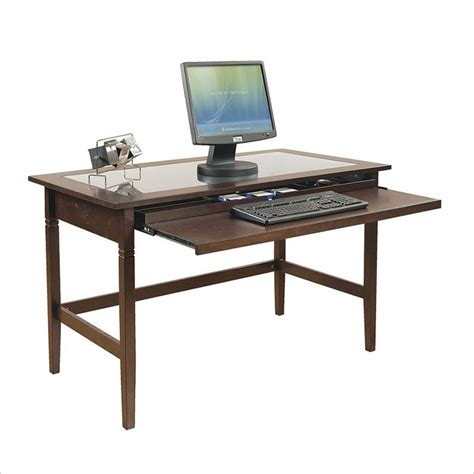 wooden office desk with glass top commercial computer desks home office computer desk at