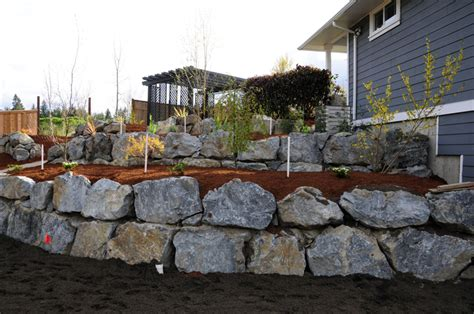 boulder retaining wall construction all out contracting retaining walls and driveways victoria vancouver island gulf islands