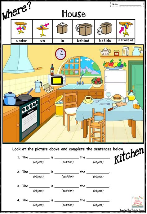 collection of worksheets on prepositions of place for