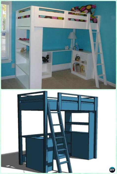 diy loft bunk bed  desk instructions diy kids bunk bed