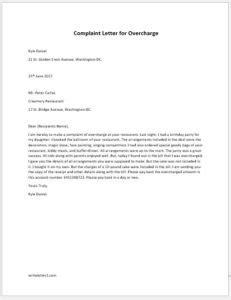 Complaint Letter for Overcharge | writeletter2.com