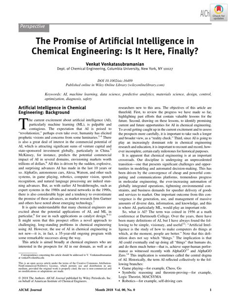 (PDF) The Promise of Artificial Intelligence in Chemical