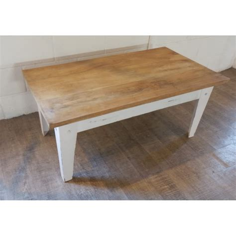 table basse industrielle bois metal wood top coffee table with distressed white metal base
