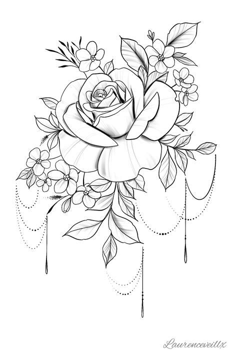 FOLLOW ME ON IG @laurenceveillx | Rose flower tattoos, Rose tattoos, Rose tattoo stencil