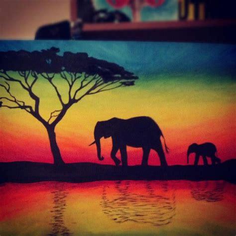 elephant silhouette sunset painting elephant silhouette by tylertiger on deviantart