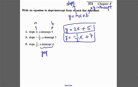write equation of line given the slope and y intercept or intercept youtube