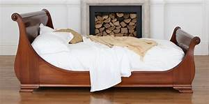 Feel Ultimate Comfort with Cherry Wood Sleigh Bed Series