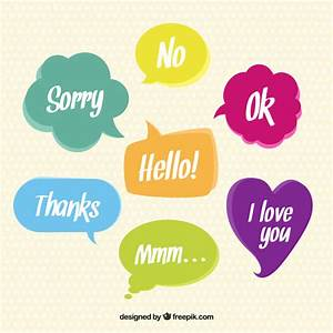 Colored speech bubbles with words Vector   Free Download