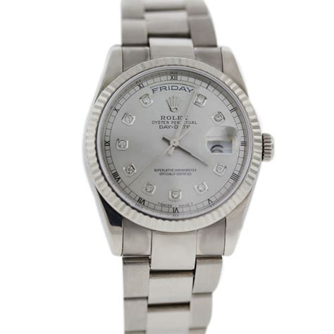 Rolex 118239 White Gold Day Date Diamond Dial Watch. Diamond Square Earrings. Baguette And Round Diamond Eternity Band. Lizard Rings. Fancy Watches. Fancy Diamond. Large Silver Bangle. Gold Stud Bracelet. Real Silver Anklets
