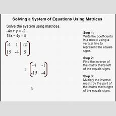 How To Solve A System Of Equations Using Matrices Youtube