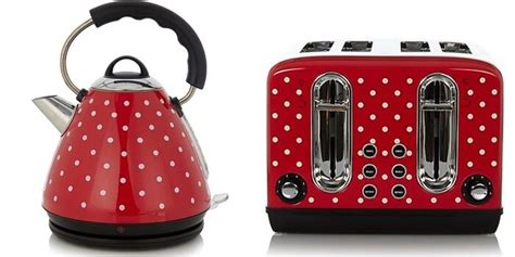 polka dot toaster and kettle retro polka dot stainless steel pyramid kettle and 4