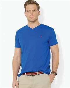 Polo V : polo ralph lauren short sleeve cotton jersey v neck tee in blue for men lyst ~ Gottalentnigeria.com Avis de Voitures