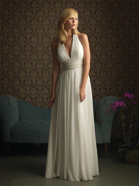 ivory halter flower beaded chiffon columnsheath unique  wedding dress prlog